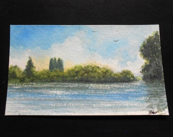 Stillaguamish River View Original Watercolor By M. Fisher