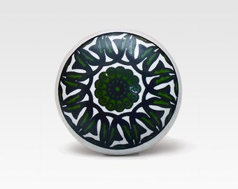 Hand painted ceramic knob, dark green on white, vintage
