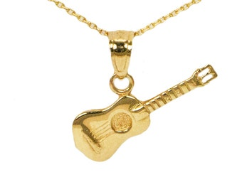 10k Yellow Gold Guitar Necklace