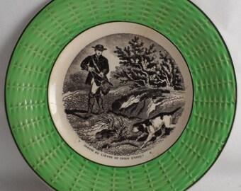Plate Sarreguemines hunting Hare