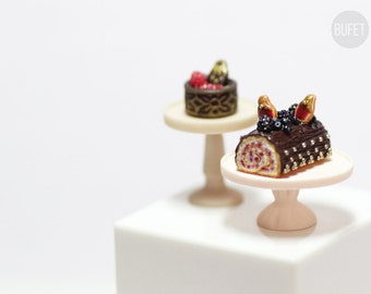 Chocolate Roll Cake Matryoshka with dark berries - Russian Collection - Dollhouse - Miniature Food