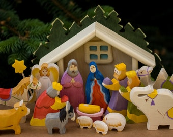 Nativity Scene, Wooden Nativity Set of 15 hand carved figurines with manger, Creche Baby Jesus, Waldorf Handmade Christmas Decor