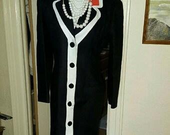 Vintage 80's Albert  Nipon Patriotic linen coat dress