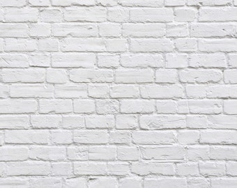 5x7 Antique White Painted Brick Printed Backdrop - Polypro or Vinyl for Newborn, Baby, Infant, Toddler, or Child Photography