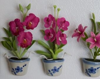 Pink Flower Set of 3 - Flower Refrigerator Magnet Handmade 100%