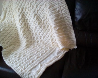 Cream Aran Throw
