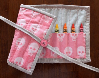 Skull Crayon Roll, Pink Crayon Tote, Crayon Holder, Pink Skulls, Geekly Chic, Girl, Gray, Crayon Roll Up, Art Supplies, Toy