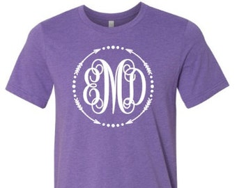 Monogrammed t-shirt, personalized monogram, arrow monogram, initials, bella canvas, made by Enid and Elle