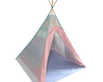 TEPEE colourful indian tent for kids room outdoor indoor  pastel rainbow