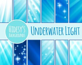 "Ocean / Sea  Digital Paper / Background / Pattern ""UNDERWATER LIGHT"""