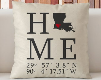Louisiana Home State And Coordinates Personalized Throw Pillow 18 X18 New Home Gift