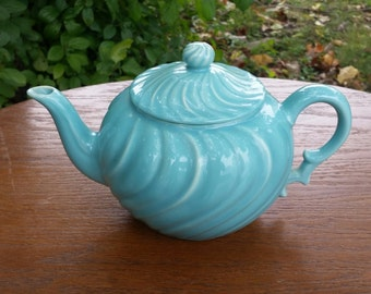 Beautiful Vintage Franciscan Coronado Aqua Swirl Tea Pot with Lid
