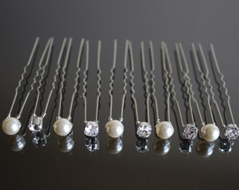 Swarovski Crystal and Swarovski Pearl Hair Pins