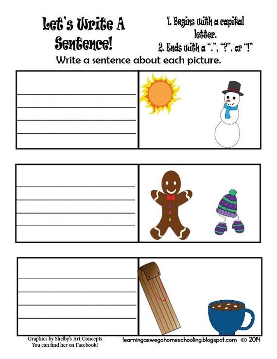 Premise Indicator Words: Let's Write A Sentence Writing Prompt Worksheet Winter