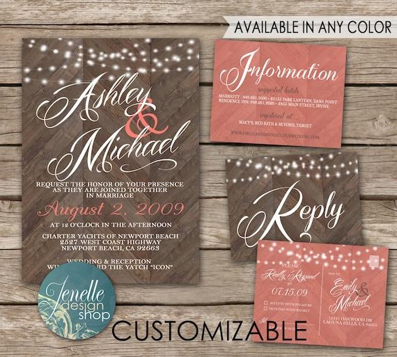 Cheap Rustic Wedding Invitation Kits: Rustic Wedding Invitations Chevron Wood By JENELLEdesignSHOP