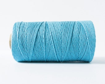 Solid Blue Twine, Solid Blue Bakers Twine, Solid Blue Packaging Twine, 4 Ply Twine Per Yard, %100 Cotton Twine, Gift Wrap Twine