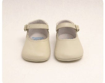 Beige Leather Mary janes Mereceditas baby shoes