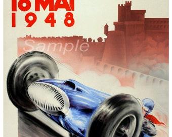 Vintage 1948 Monaco Grand Prix Racing Poster Print