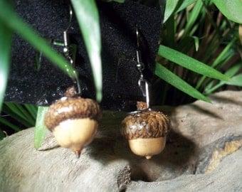 Real Pin Oak Acorn Earrings