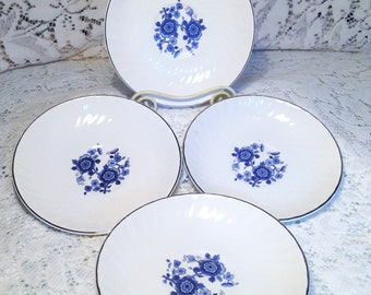 Enoch Wedgwood Turnstall Ltd. Royal Blue Ironstone Saucers Made in England Set of 4