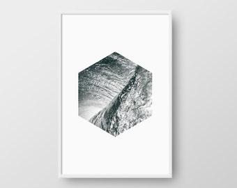 Printable Scandinavian Poster, Water Print, Hexagon Nordic Print, Scandinavian Print, Geometric Nature Print, Geometric Water Poster