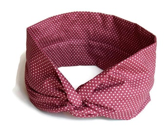 Headband P'tit trickster women spring-summer red brick with white polka dots