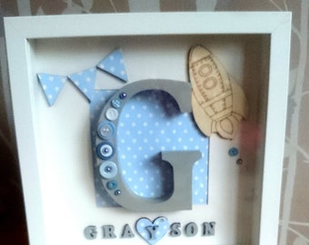 Little boys 'blue star rocket' frame with initial and name.