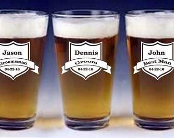 Personalized Beer Mug, Groomsman Gift, Groomsmen Beer Glasses, Groomsmen Beer Mug, Custom Beer Glass, Engraved Beer Mug, Pint Glasses