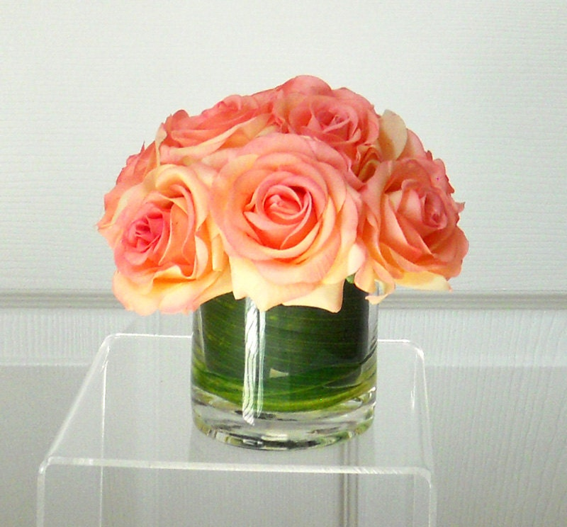 Real Touch Roses in Glass Container-Flower Arrangement-Spring flowers-Silk Flowers in Home Decor-Fake flowers-Orange Roses
