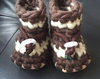 Infant/Toddler Wool Slippers with Leather Sole and Sheepskin Insole