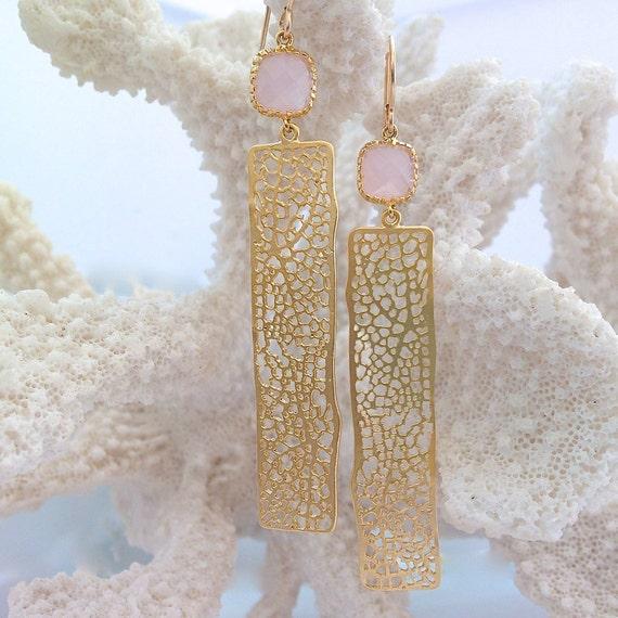 Kairi earrings gold coral earrings sea fan beach wedding for Sell gold jewelry seattle