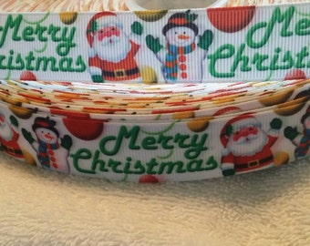 "3 yards, 7/8"" merry Christmas Santa clause and snowman design grosgrain ribbon"