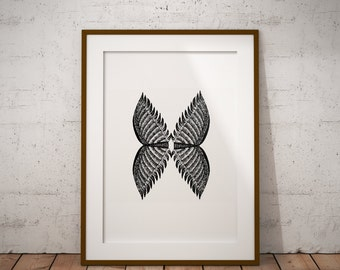 Egyptian Wings, Geometric Butterfly, Stippling Black And White Ink Drawing, Giclee Print