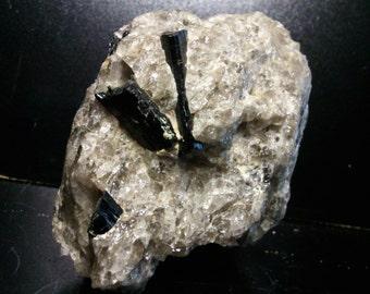 Tourmaline in smoky quartz and schorl in smoky quartz of Madagascar