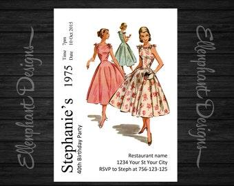 Retro Birthday Invitation, dress pattern, sewing, retro, vintage, adult, 21, 30, 40, 50, 60, female, custom invite, digital file, you print