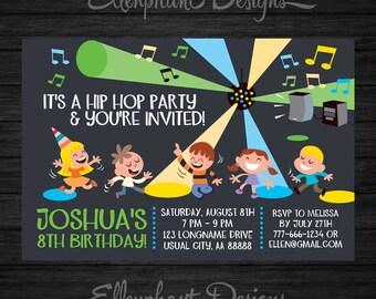 Hip Hop Birthday Invitation, dance party birthday, Disco invitation, boy, kids, dancing, 7, 8, 9, 10, custom invite, digital, DIY Printable