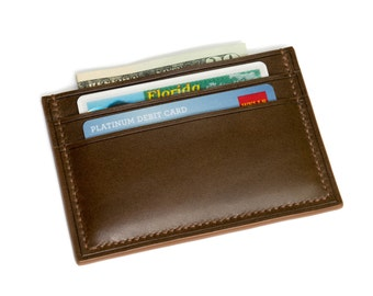 Front Pocket Wallet | Italian Leather Card Holder | Minimalist Leather Wallet | Full Grain Leather Wallet