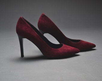 Womens Deep wine Suede Court Shoe Size UK 10 EU 44