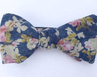 Handmade Denim & Floral Bow Tie