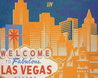 Retro Travel Poster - Las Vegas