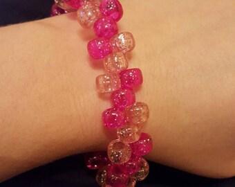 Pink sparkles kandi style beaded handmade bracelet