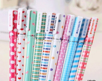 10 pcs Colourful Pen Set, Kawaii Stationery, Korean Stationery, Gel Pen Set - PEN003