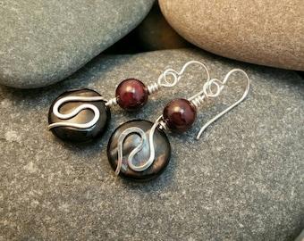Hypersthene and garnet earrings
