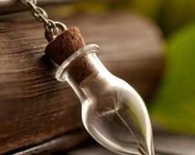 Real Dandelion Necklace, Glass Wish Bottle Necklace , Real Dandelion Seeds, Water Drop Bottle Irish Botanical Pendant , Necklace for Her