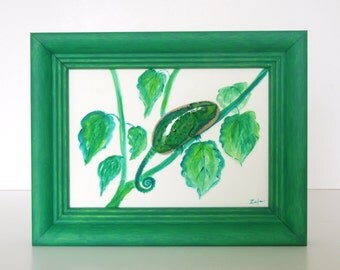 3D stone image painted with oil paint: the Green Chameleon