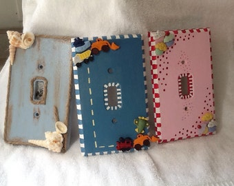 Wooden hand painted switch plate cover