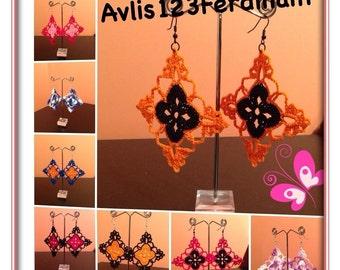 Diamond crochet earrings