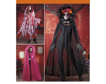 Sewing Pattern for Cape Costumes, Fairy Costumes, Day of the Dead Costumes for Misses, Simplicity Pattern 1029, Halloween Costume, Cosplay
