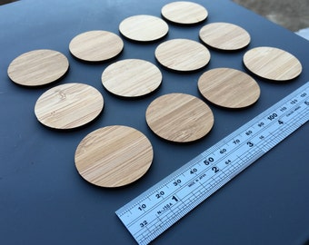 20 x Laser Cut Wooden 3.7cm Circles - Bamboo Ply, (unfinished)