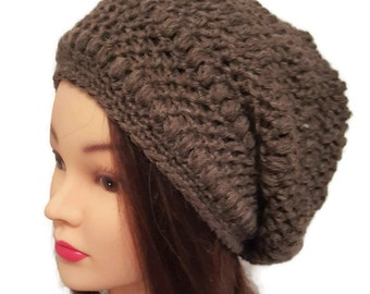 Brown Puff Stitch Slouch Hat - crocheted